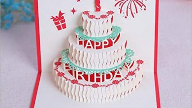 Photo of YUMUYMEY 10 Pcs Happy Birthday Cake Pop Up Greeting Card 15cm x 15cm (Color : Red, Size : 10pcs)