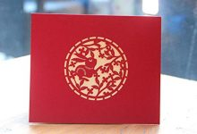 Photo of 3D Stereo pop-up Greeting Card Blessing Chinese Style red Small Card Creative Paper Blessing Card
