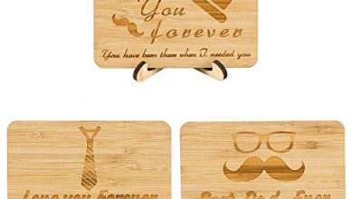Photo of Apipi 3pcs Bamboo Father's Day Handmade Greeting Card- Real Bamboo Wooden Love You Forever Best Dad Ever Father's Day Card Birthday Gifts Card for Dad Husband Grandpa (3 Style)