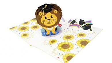 Photo of Lion Graduate – 3D Pop Up Greeting Card For Graduation – You Made It, Well Done, Congratulation, Caps, Hats off, Bravo, Good Luck, So Proud – Blank Inside for Personalized – Thick Envelope, Fold Flat