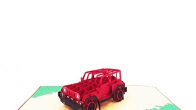 Photo of Red Jeep Pop up Birthday Card, Thank You Card, Love Card, Graduation Card, Anniversary Card, Just Because, Romantic Cards for Man, Woman, Lady, Girl, Boy | Pop Card Express
