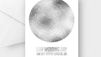 Photo of Personalised Our Wedding Day Silver foil Star map Greeting Card, Any Wording, A5