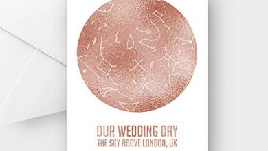 Photo of Personalised Our Wedding Day Rose Gold foil Star map Greeting Card, Any Wording, A5