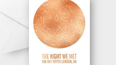 Photo of Personalised The Night we met Silver Copper Star map Greeting Card, Any Wording, A5