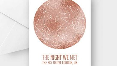 Photo of Personalised The Night we met Rose Gold foil Star map Greeting Card, Any Wording, A5