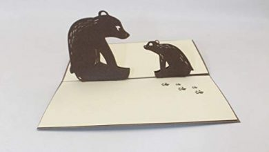Photo of VIOYO 3D handmade cartoon sitting father son bear paper blessing greeting card postcard student child birthday party friend gift