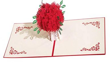 Photo of 3D Card Rose 3D Card Valentine Pop Up Greeting Bouquet Red Flower Romantic Lovers Valentines Day Wedding