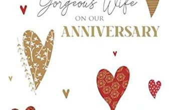 Photo of Wife Anniversary Card from Cherry Orchard – Hearts with a Gold Foil Finish – for Her