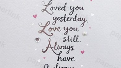 Photo of On Our Anniversary Card (PLK6025) Love You Yesterday, Love You Still, Always Have & Always Will. – Silver Embossed & Gem Finish