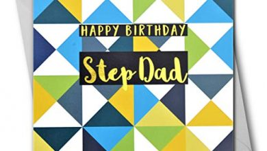 Photo of Happy Birthday Step Dad, Triangles, Greeting Card with Text Foiled in Shiny Gold
